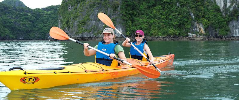 Chèo Kayaking Du Thuyền While Dolphin